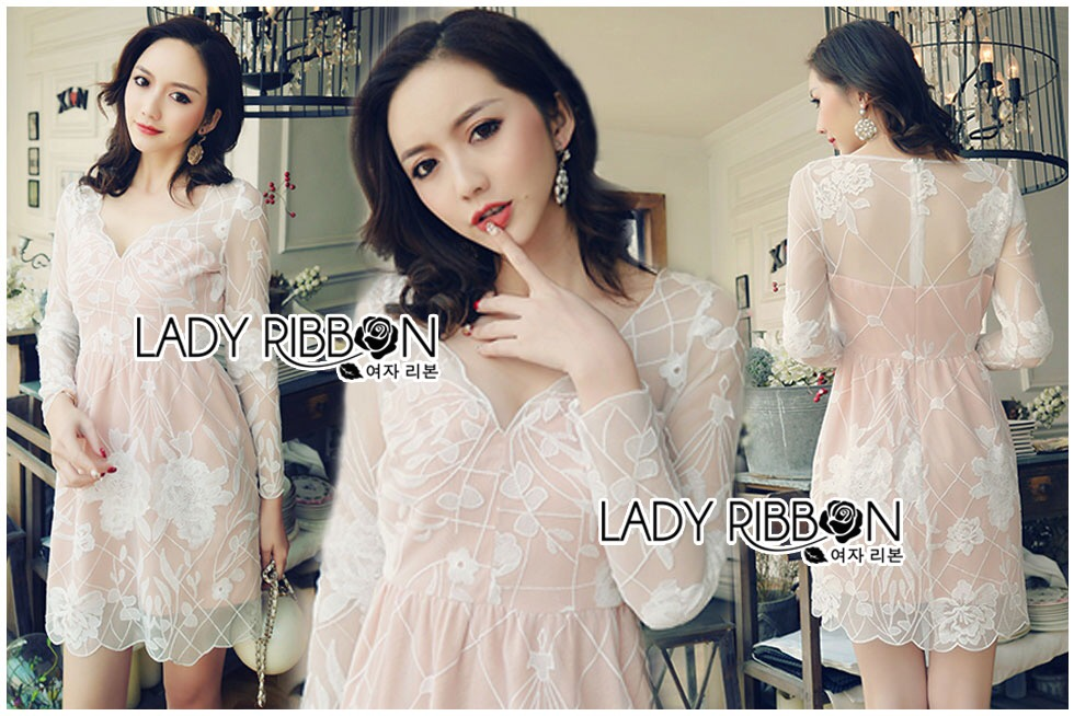 Lady Ribbon Dress LR01120516 &#x1F380 Lady Ribbon's Made &#x1F380 Lady Sasha Sexy Elegant Flower Embroidered Lace Dress