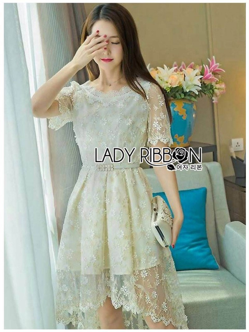 เสื้อผ้าแฟชั่นเกาหลี Lady Ribbon's Made Lady Suzie Sweet Vintage Asymmetric Lace Dress