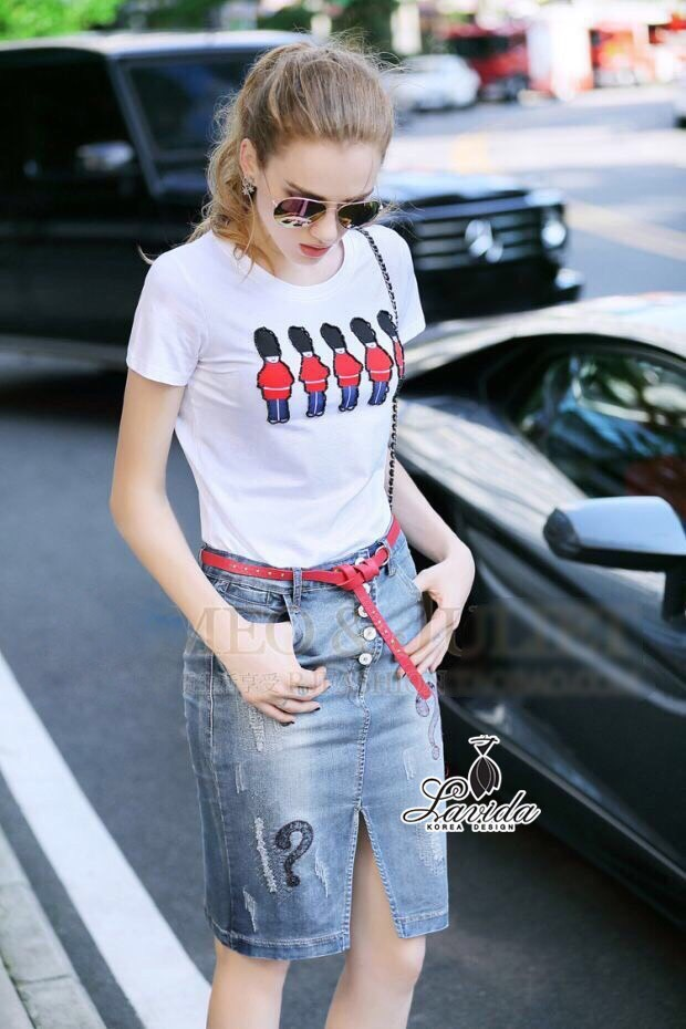 Lady Ribbon Korea Closet Shop Shop Korea Design By Lavida palace soldiery embroidered top question mark denim skirt set