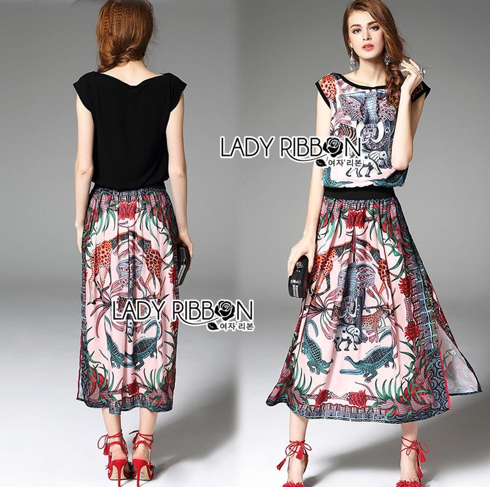 Lady Ribbon Korea Dress &#x1F380 Lady Ribbon's Made &#x1F380 Lady Rachelle Wild Animal Printed Set