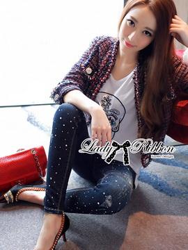 Lady Ribbon Korea เสื้อผ้าเกาหลี ของแท้พร้อมส่ง Lady Ribbon Denim LR17250716 &#x1F380 Lady Ribbon's Made &#x1F380 Lady Kim Skinny Jeans with Crystal Embellished