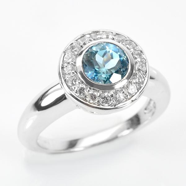 แหวนพลอยแท้ แหวนเงินแท้ 925 พลอยโทปาสล้อมด้วยเพชร CZ ชุบทองคำขาว