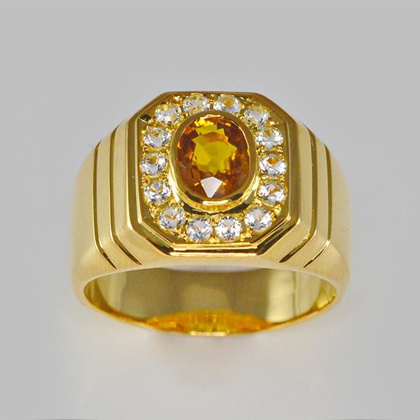 แหวนทองคำแท้ แหวนพลอยแท้ พลอยซิทริน ประดับเพชรCZ