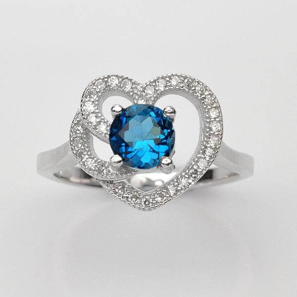 แหวนพลอยแท้ แหวนเงินแท้925ชุบทองคำขาว ฝังพลอยโทแพซ ล้อมด้วยเพชร CZ เกรดพรีเมี่ยม