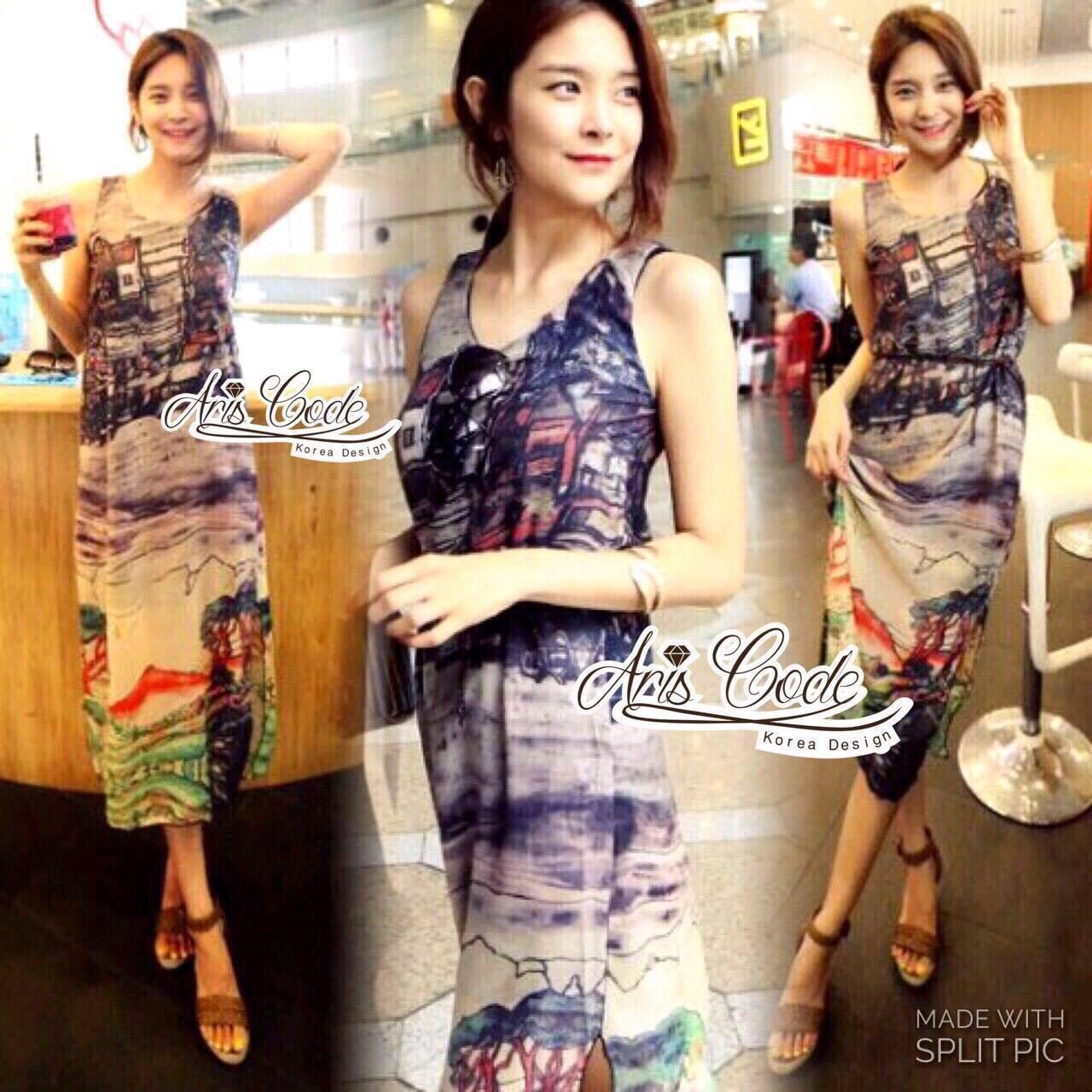 Lady Closet Dress&#x1F4ABRetro dress Silk chiffon sleeveless beach house by Aris Code Ribbon