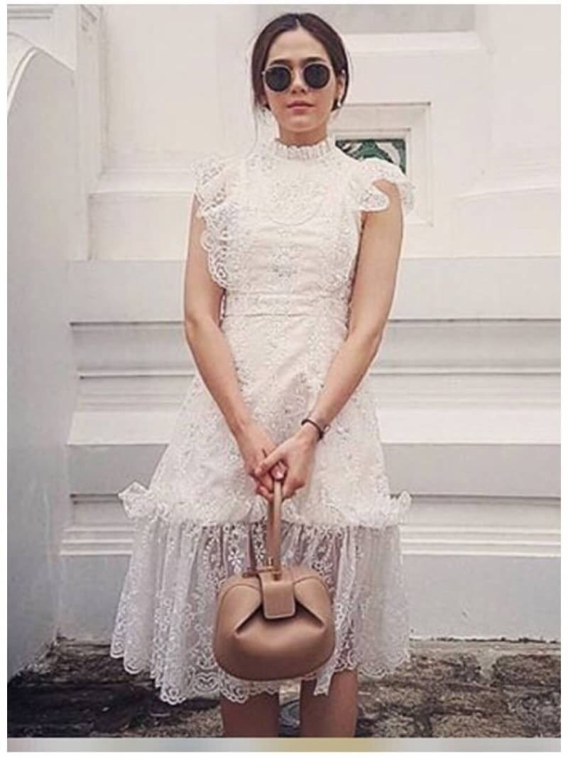 เสื้อผ้าแฟชั่นเกาหลี Lady Ribbon Thailand Lady Ribbon's Made Lady Ellie Fancy Ruffle White Lace Dress