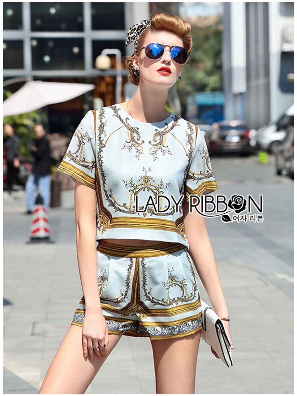 Lady Ribbon Korea Closet LR11130616 &#x1F380 Lady Ribbon's Made &#x1F380 Shop Lady Elena Renaissance Bliss Printed Ensemble Set