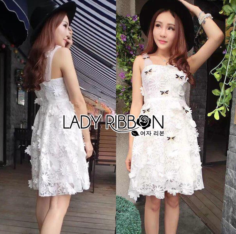 Lady Ribbon Korea Dress LR01160616 &#x1F380 Lady Ribbon's Made &#x1F380 Lady Leslie Flower Lace Dress with Crystal Dragonflies เดรสผ้าลูกไม้