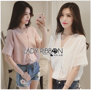 Lady Ribbon Korea เสื้อผ้าเกาหลี ของแท้พร้อมส่ง Lady Ribbon LR01250716 &#x1F380 Lady Ribbon's Made &#x1F380 Lady Sophie Sweet Feminine Laser-Cut and Embroidered