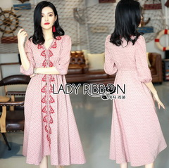 Lady Ribbon Pink Denim Dress