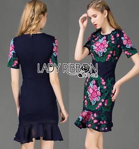 Lady Ribbon Dress เดรสผ้าโพลีเอสเตอร์