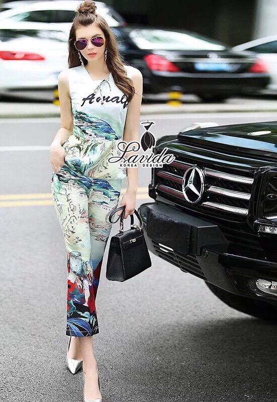 Lady Ribbon Korea Design LV05200616 &#x1F36DKorea Design By Lavida natalie countryside printing sleeveless top long pants fiminine set code