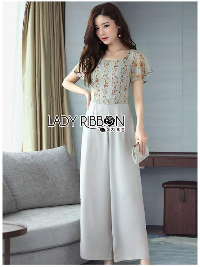 เสื้อผ้าแฟชั่นเกาหลี Lady Ribbon Thailand Lady Ribbon's Made Lady Zara Summer Style Floral Printed Jumpsuit