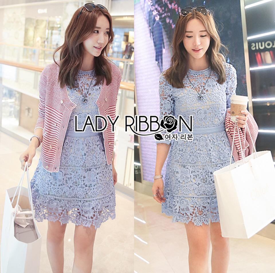 Lady Ribbon Korea Dress &#x1F380 Lady Ribbon's Made &#x1F380 Lady Ariana Sweet Feminine French Lace Dress in Light Blue เดรสผ้าลูกไม้