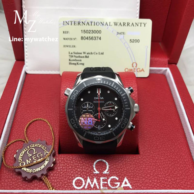 Omega Seamaster Diver 300 Co-Axial Chronograph 44MM - Black Dial Rubber Strap