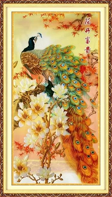 Peacock&Magnolia (พิมพ์ลาย)