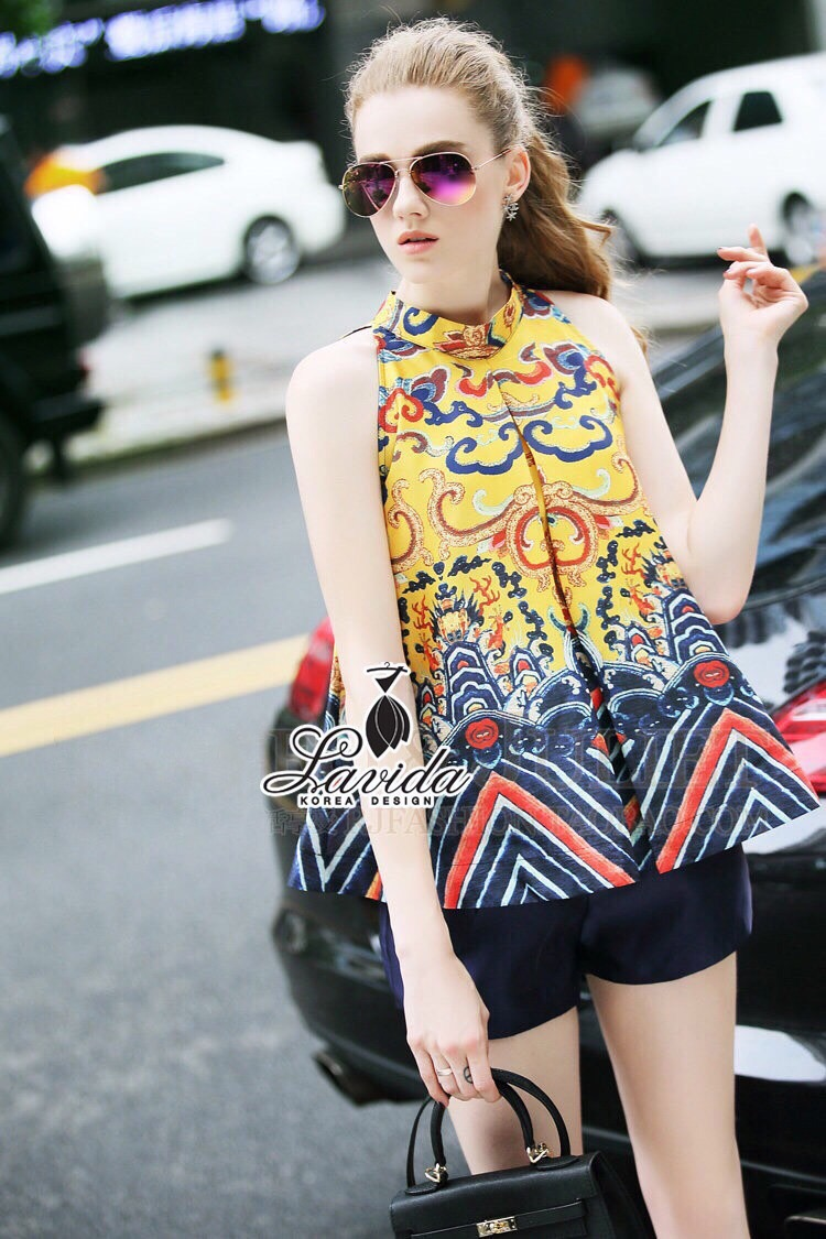 Lady Ribbon Korea Shop LV02200616 &#x1F36DKorea Design By Lavida aristocrat yellow printed sleeveless top shop pants chic se