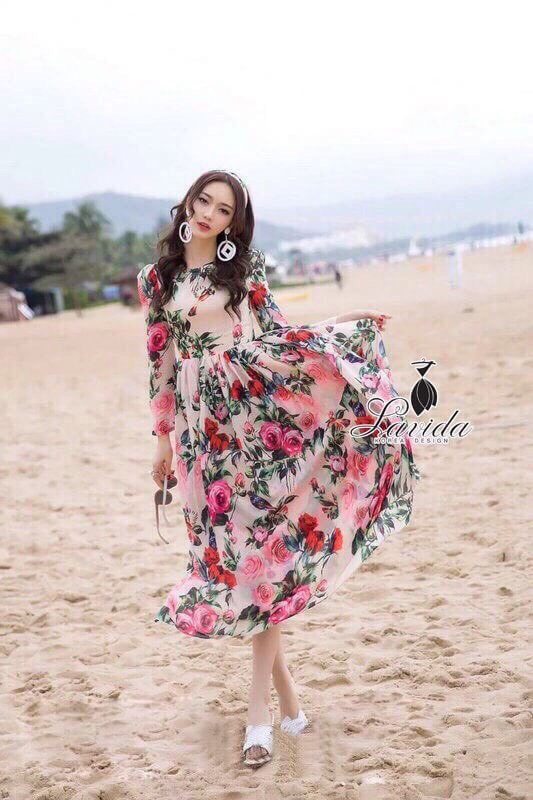 Lady Ribbon Korea Closet LV02070616 &#x1F36DKorea Design By Lavida elegant feminine rose printing long sleeve maxi dress