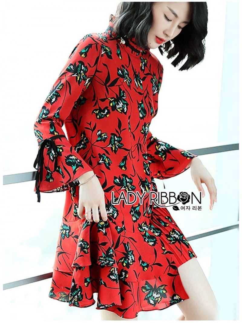 เสื้อผ้าแฟชั่นเกาหลี Lady Ribbon Thailand Lady Ribbon's Made Lady Alberta Green Floral Printed Red Pleated Dress