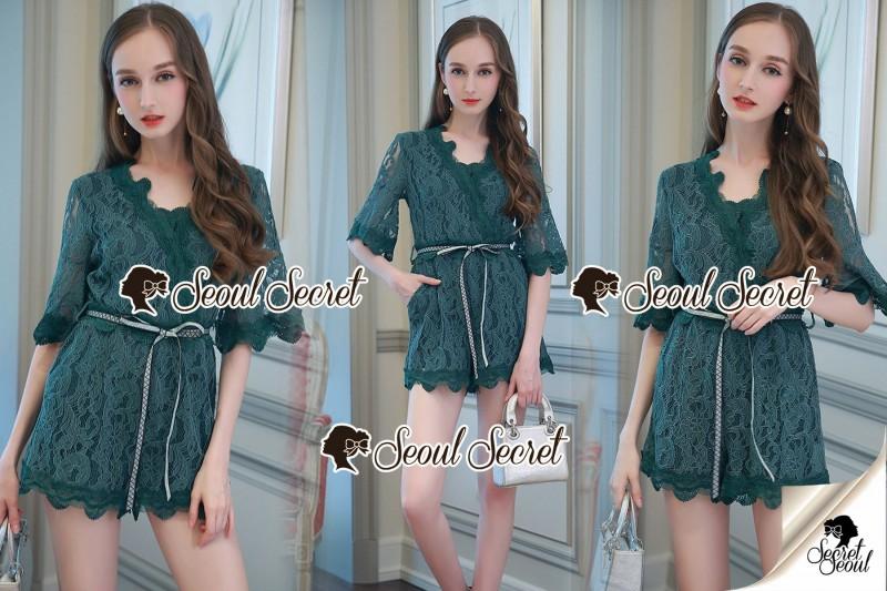 เสื้อผ้าแฟชั่นเกาหลี Seoul Secret Say's... Whiffle Rim Lace Murky Color Playsuit
