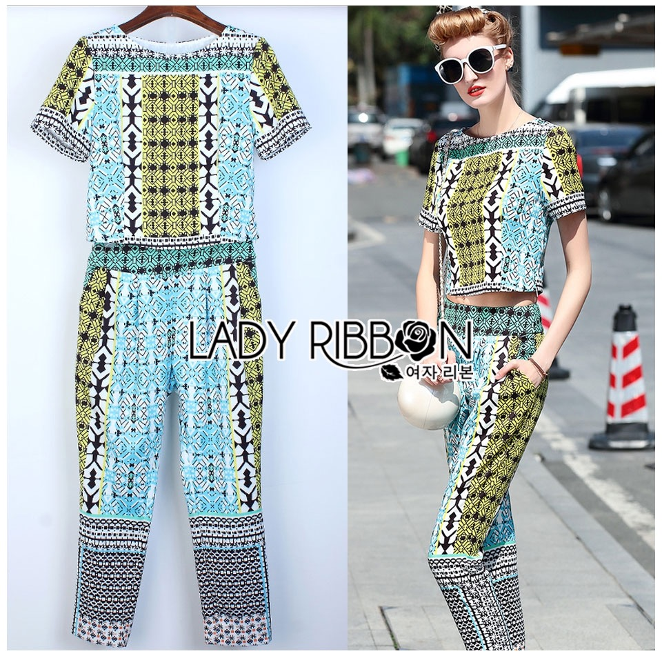 Lady Ribbon Korea Dress &#x1F380 Lady Ribbon's Made &#x1F380 Lady Evelyn Smart Casual Graphic Mixed Printed Set