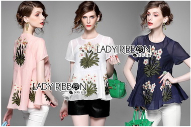 Lady Ribbon Korea Closet LR15270616 &#x1F380 Lady Ribbon's Made &#x1F380 Lady Margaret Spring Floral Embroidered Chiffon Peplum Top
