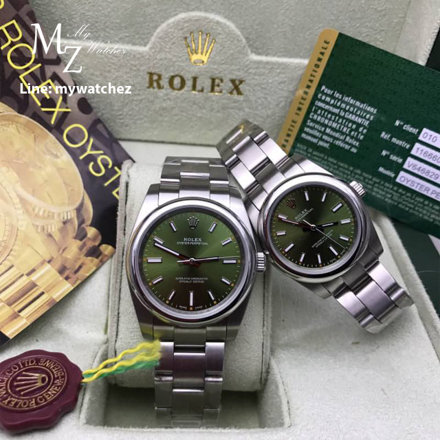 Rolex Oyster Perpetual Green Stick Dial 31 MM
