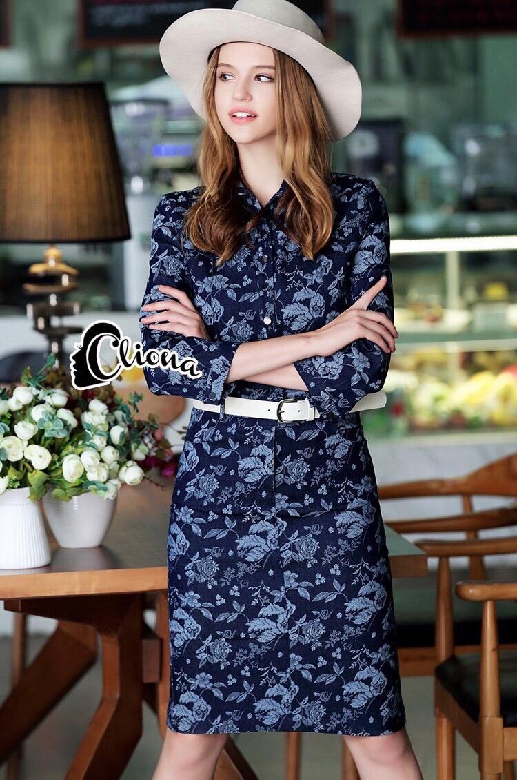 Brand Cliona made'Chanel Floral Line Denim Luxury Dress - long dress ผ้าdenim