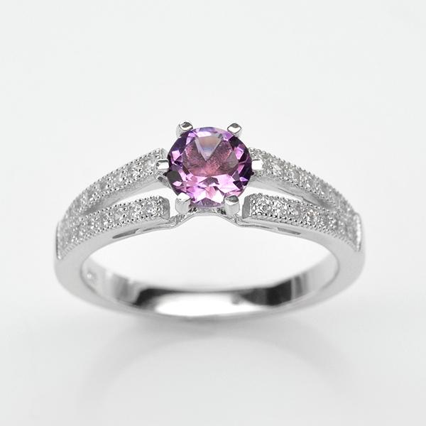 แหวนพลอยแท้ แหวนเงิน925 พลอย อเมทิส ประดับเพชร CZ ชุบทองคำขาว
