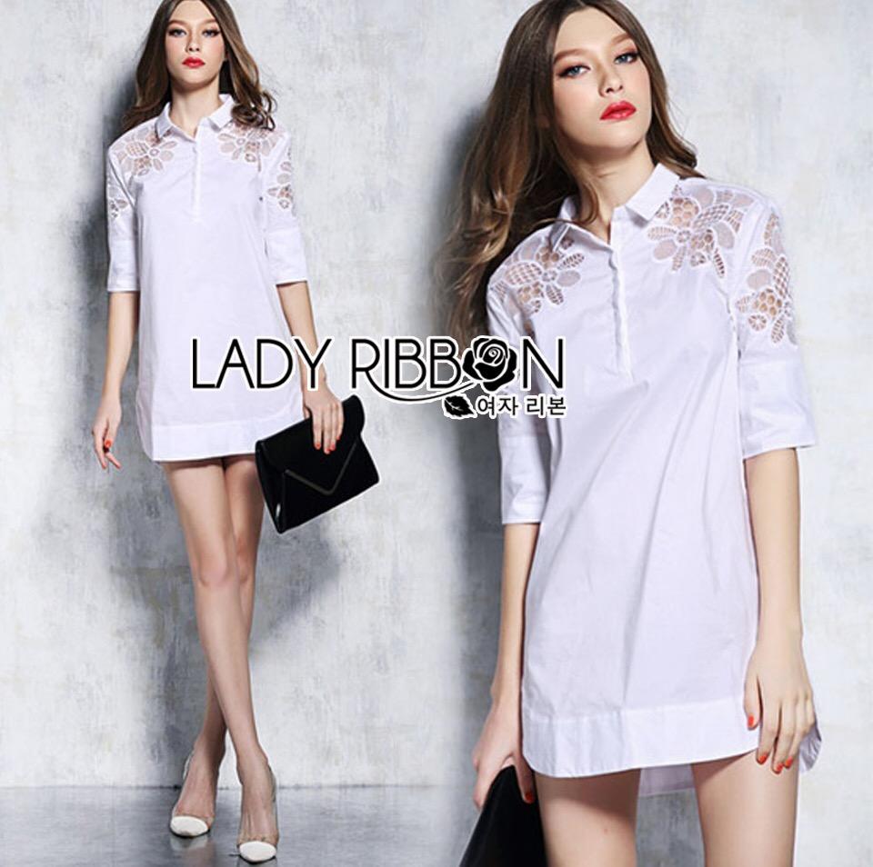 Dress Lady Ribbon Korea Cotton Long Dress Shirt เดรสเชิ้ต