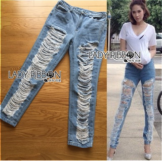 Lady Ribbon Korea Korea cutting LR07010816 &#x1F380 Lady Ribbon's Made &#x1F380 Lady Elina Washed Ripped Skinny Jeans