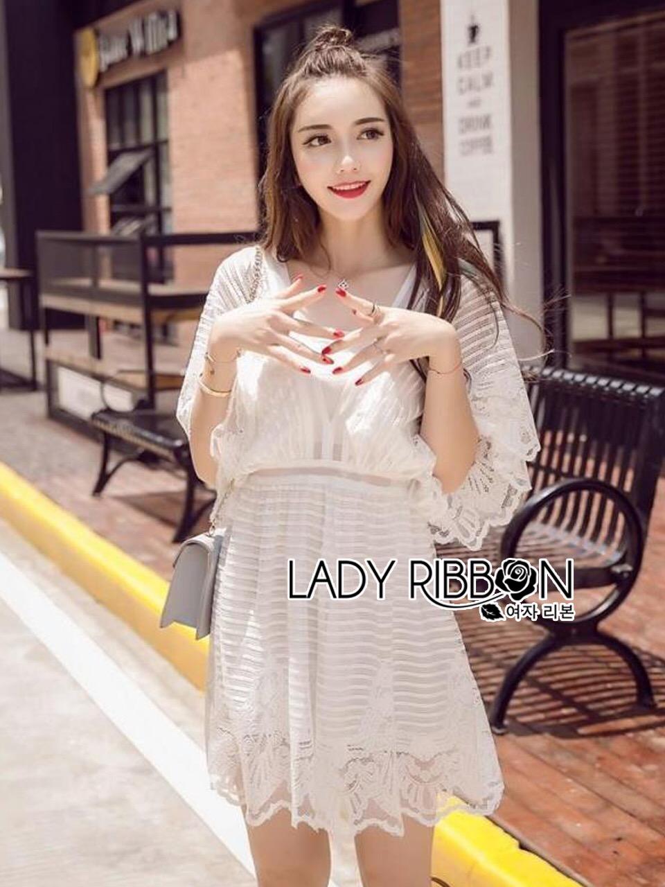 Lady Ribbon Korea Dress &#x1F380 Lady Ribbon's Made &#x1F380 Lady Hannah Sweet Sensual Butterfly Lace Mini Jumpsuit