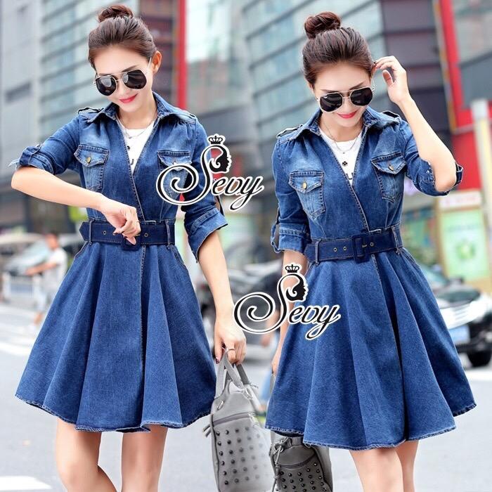 Brand Sevy Smart Casual A Line Denim Mini Dress