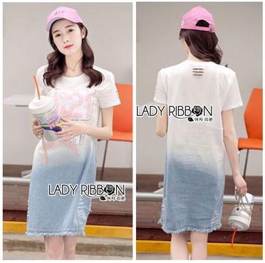 Lady Ribbon Korea Denim Dress Korea LR18300616 &#x1F380 Lady Ribbon's Made &#x1F380 Lady Tamara Street Chic Sequin Embroidered Jersey and Denim Dress