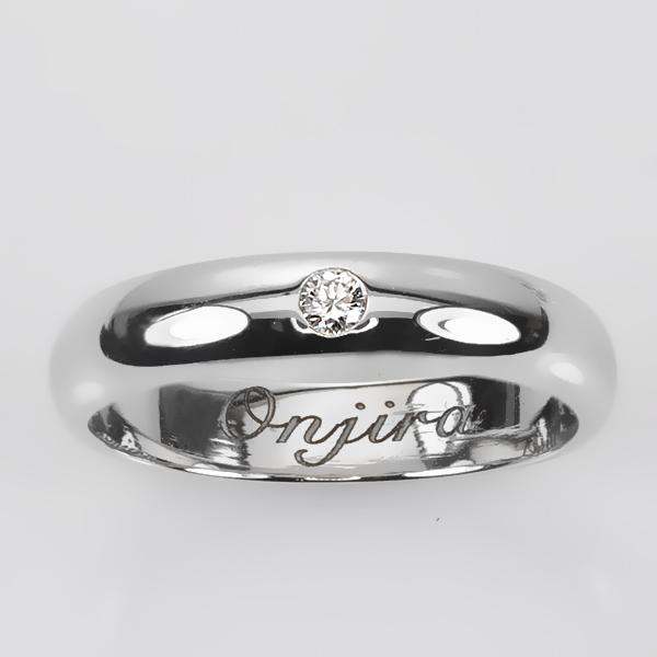แหวนทองคำขาวเพชรแท้ สลักอักษร