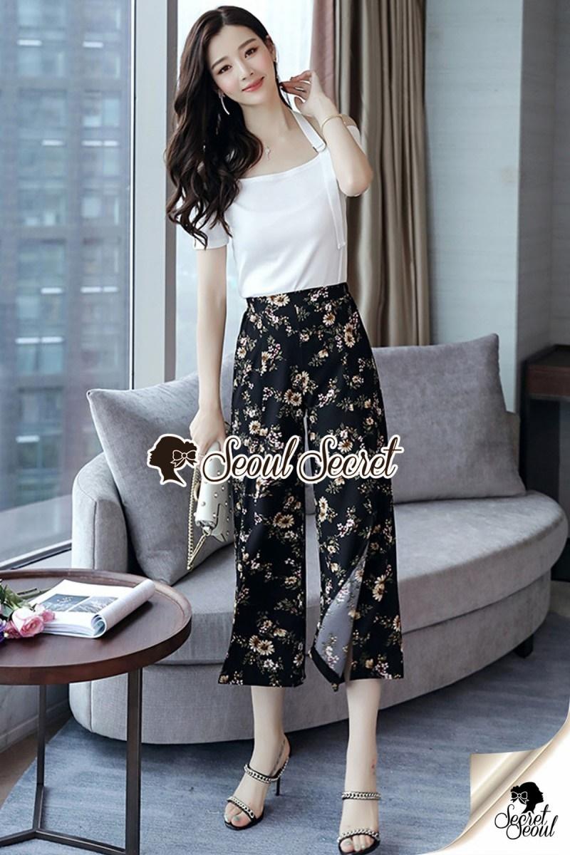 เสื้อผ้าแฟชั่นเกาหลี Lady Ribbon Thailand Seoul Secret Say's... Blossom Pants Chic Line Belt Collar