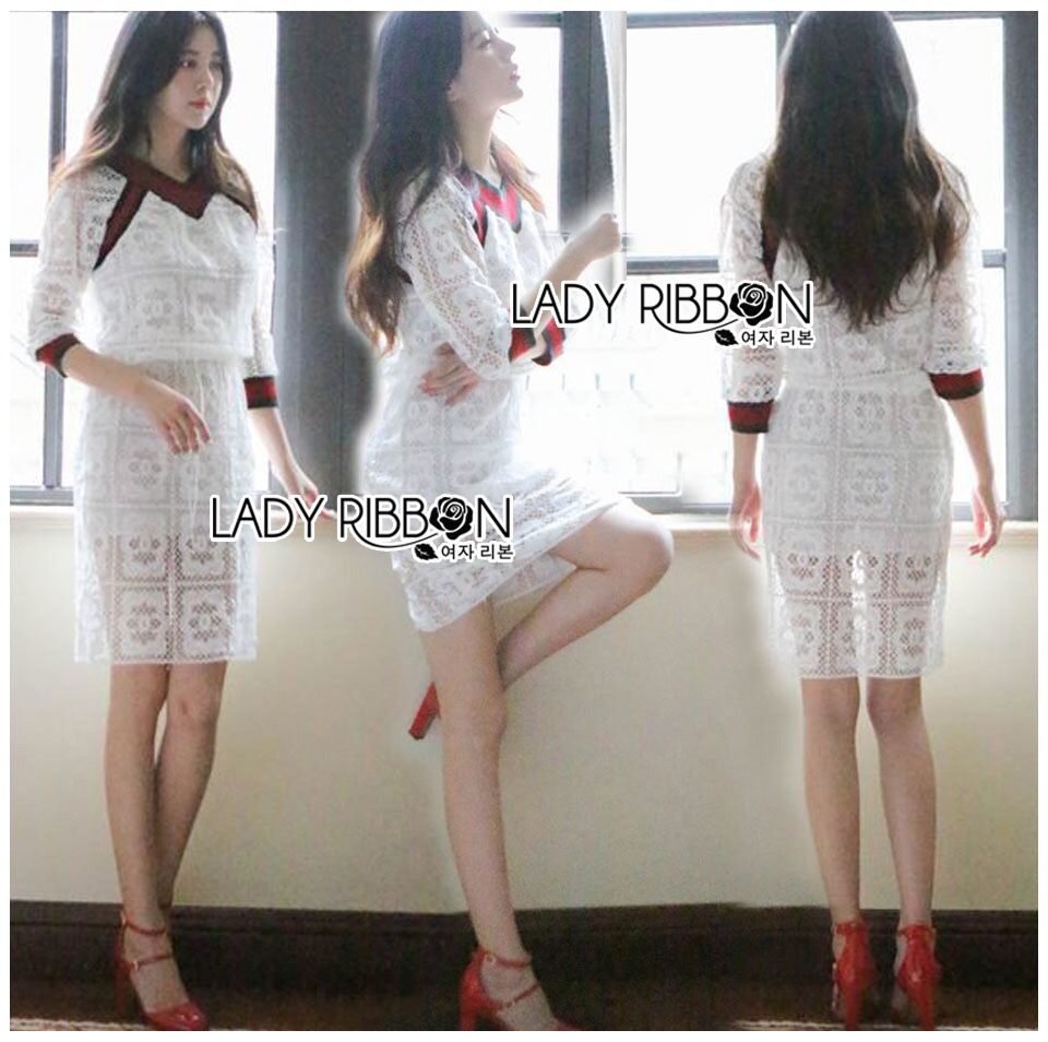 Lady Ribbon Dress LR05120516 &#x1F380 Lady Ribbon's Made &#x1F380 Lady Paula Gucci Style White Lace Dress เดรสผ้าลูกไม้