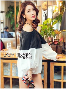 Lady Ribbon Korea Dress Korea Shop LR03390616 &#x1F380 Lady Ribbon's Made &#x1F380 Lady Stella Minimal Monochrome Off-Shoulder Cotton Long Shop