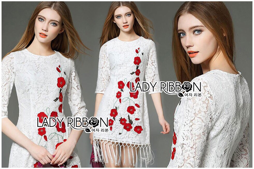 Lady Ribbon Dress LR04300516 &#x1F380 Lady Ribbon's Made &#x1F380 Lady Julia Red Flower Embroidered White Lace Dress with Fringes เดรสผ้าลูกไม้