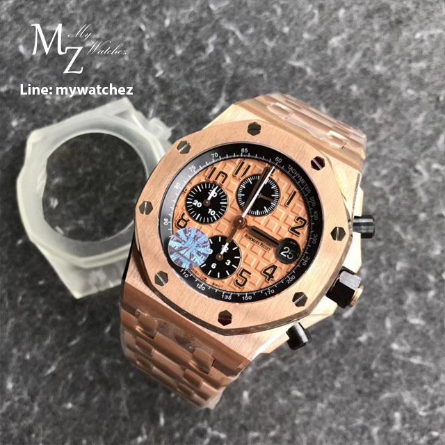 นาฬิกา AP Royal Oak Offshore Rose Gold ก๊อปเกรด Mirror และเกรด Swiss