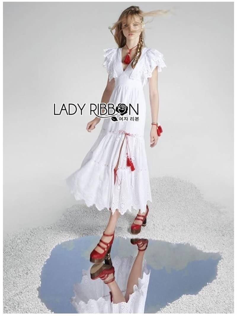 เสื้อผ้าแฟชั่นเกาหลี Lady Ribbon Thailand Lady Ribbon's Made Lady Hannah Flower Laser-Cut and Embroidered Ruffle Cotton Long Dress