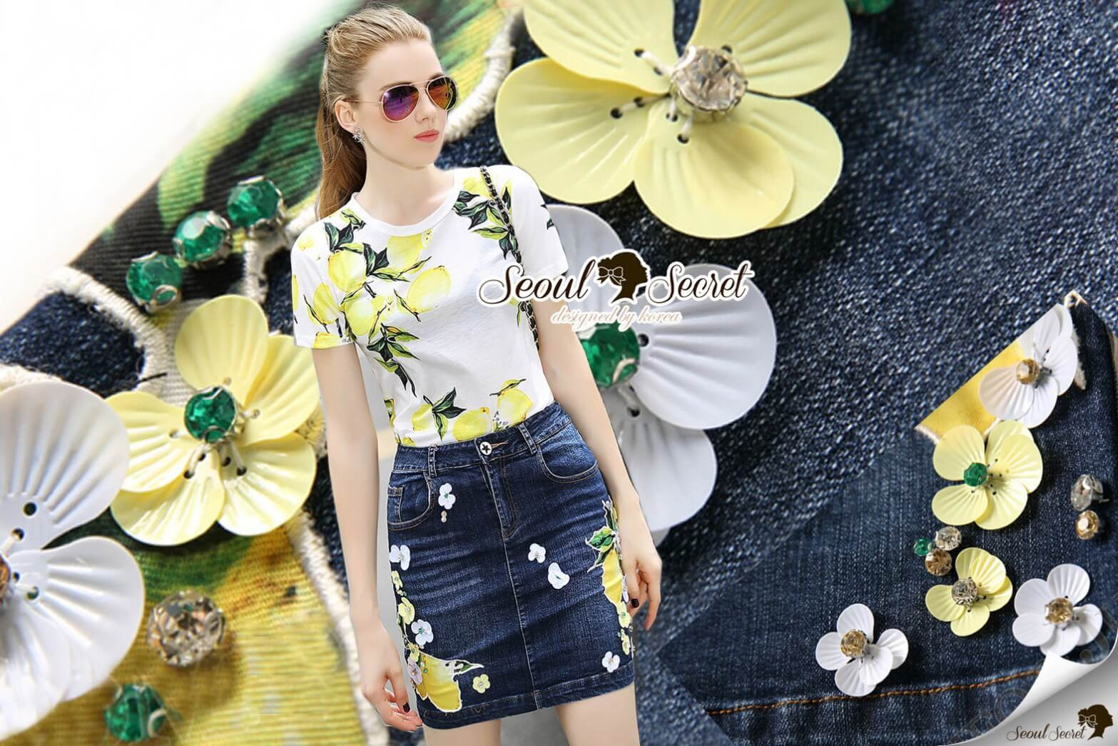 Seoul Secret Say's... Lemony Sour-Sweety Chic DenimSkirt Set