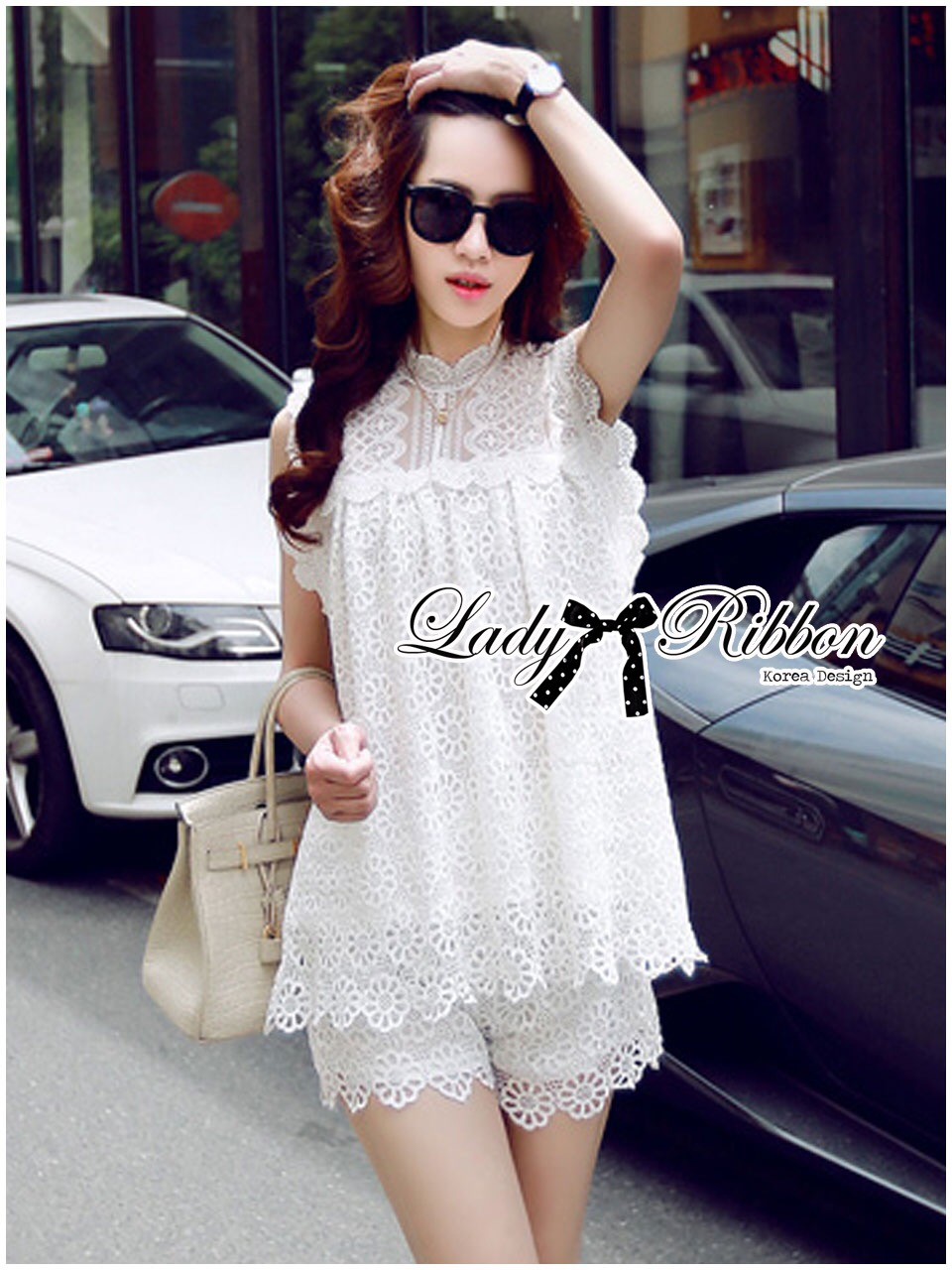 : Lady Ribbon Korea Dress LR20060616 &#x1F380Lady Ribbon's Made&#x1F380Lady Blaire Pretty Sweet Floral White Lace Ensemble Set