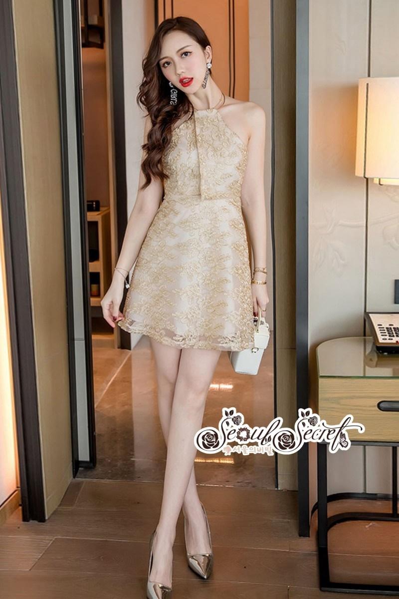 เสื้อผ้าแฟชั่นเกาหลี Lady Ribbon Thailand Seoul Secret Say'...Gold Minidress Lace Embroidery Design expensive