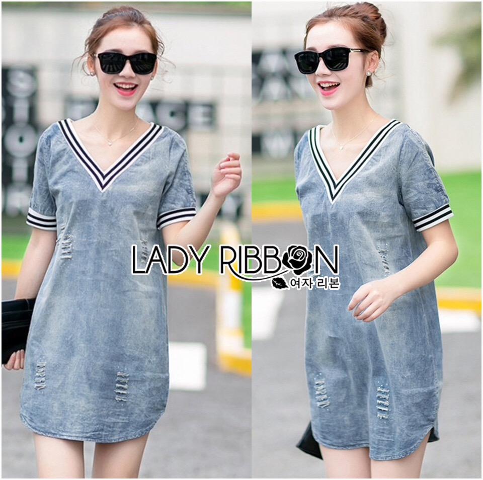 Lady Ribbon's Made &#x1F380 Lady Laura Sext Casual Deep V-Neck Denim Dress