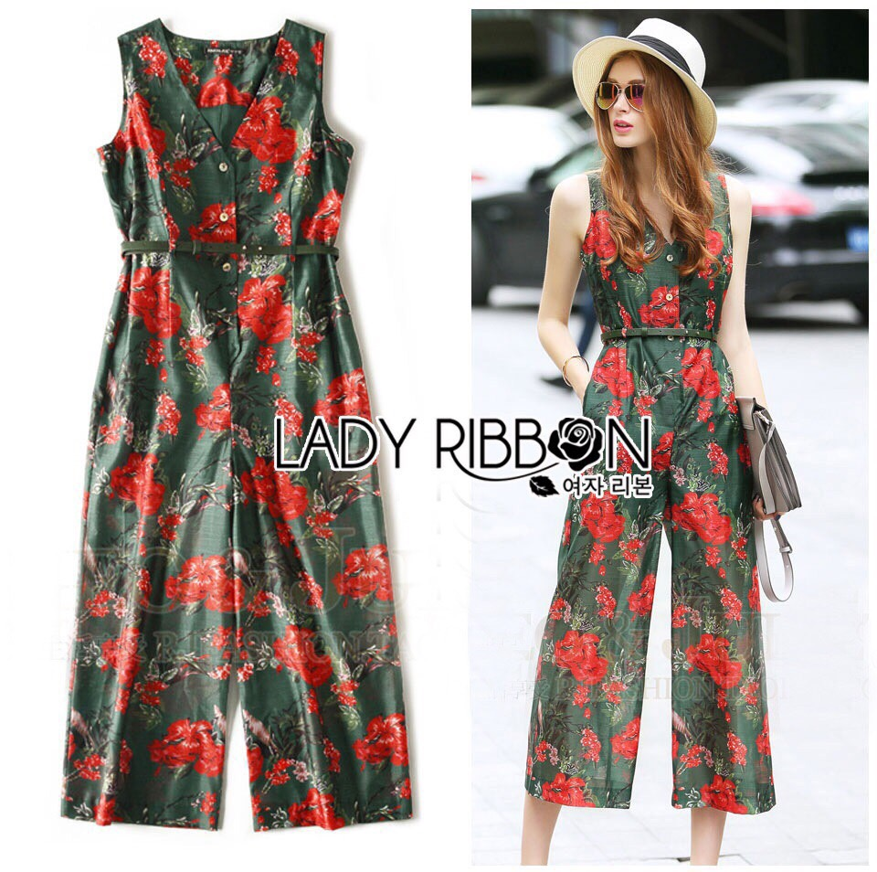 Lady Ribbon Korea LR09190516 &#x1F380 Lady Ribbon's Made &#x1F380 Lady Korea Emily Red Flower Printed Jumpsuit with Black leather Belt