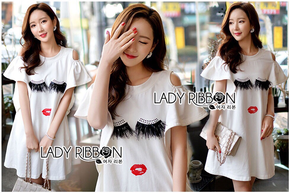 Lady Ribbon Korea LR04260516 &#x1F380 Lady Ribbon's Made &#x1F380 Lady Kimberley Ruffle with Feather Lash Embroidered Jersey Cotton Dress