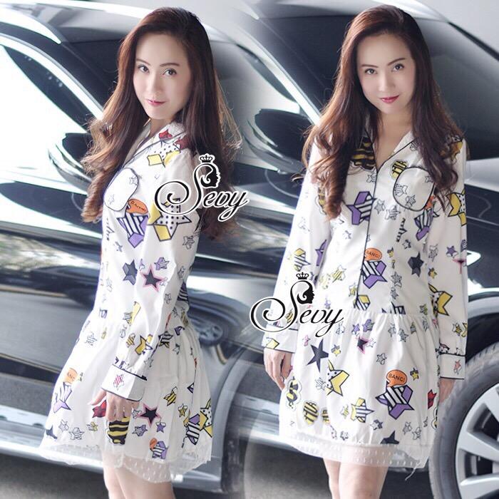 Brand Sevy Star Shining Day Collar Long Sleeve Mini Dress
