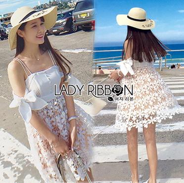 Lady Ribbon Korea Mini Dress LR18270616 &#x1F380 Lady Ribbon's Made &#x1F380 Lady Maria Sweet Sexy Stripy Ribbon Lace Dress