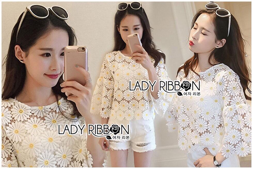 Lady Ribbon Dress Lady Ribbon Korea LR20190516 &#x1F380 Lady Ribbon's Made &#x1F380 Lady Stephanie Little Sunshine White and Yellow Floral Cropped Top ลูกไม้
